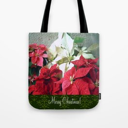 Mixed color Poinsettias 3 Merry Christmas S6F1 Tote Bag