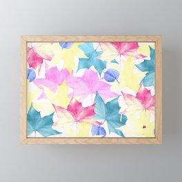 Pastel colors leaves. Framed Mini Art Print