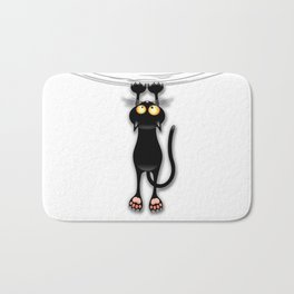 Fun Black Cat Falling Down Bath Mat
