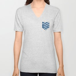 Whale in Blue Ocean with a Love Heart Unisex V-Neck