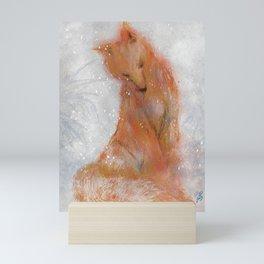 Fox in the snow Mini Art Print