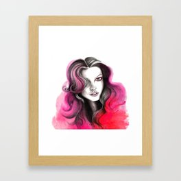 Pink and Red Flame Hair Framed Art Print