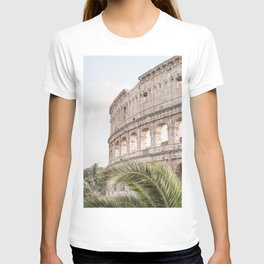The Roman Colosseum Palm Photo | Italy Travel Photography Art Print In Soft Colors | Architecture In Rome City T-shirt