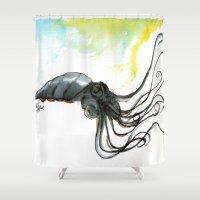 squid Shower Curtains featuring Squid by Fernando Eizaguirre