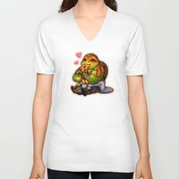 chibi V-neck T-shirts featuring Chibi Michelangelo by Noodles ^7^