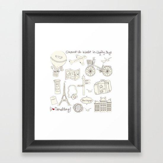 I {❤} Travel Framed Art Print