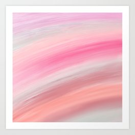 Girly aurora pink coral abstract brushstrokes Art Print