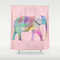 elephant Shower Curtains featuring Elephant by nessieness