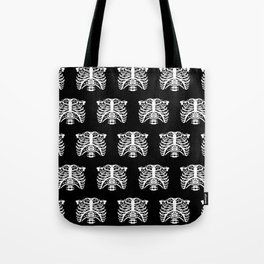 Human Rib Cage Pattern Black and White Tote Bag