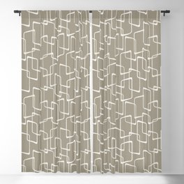 Retro Rounded Rectangles in Medium Warm Gray Blackout Curtain