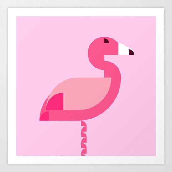Geometric flamingo Art Print