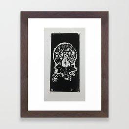 Rabbit in the Moon (B/W) Framed Art Print