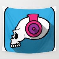 dj Wall Tapestries featuring dj skull by Sezgen