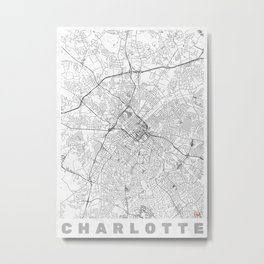 Charlotte Map Line Metal Print