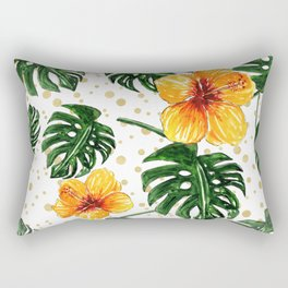 Tropical Leaves Hibiscus on a Gold Sand Background Rectangular Pillow