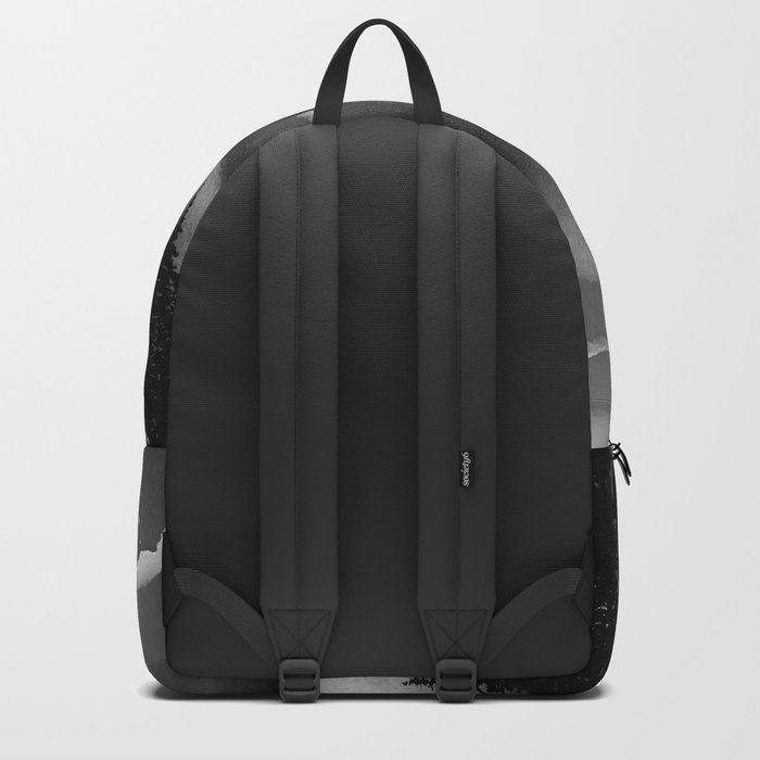 Bright Cloudy Night Sky in Black and White Backpack
