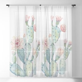 Cactus 2  White #society6 #buyart Sheer Curtain