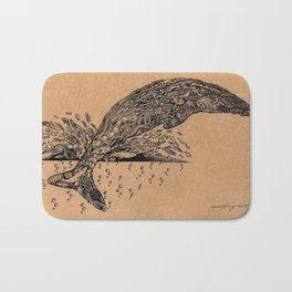 rubbish whale coffee ink Bath Mat