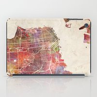 san francisco iPad Cases featuring San Francisco map by MapMapMaps.Watercolors