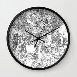 Kuala Lumpur White Map Wall Clock