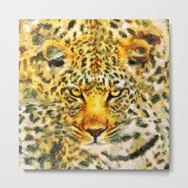 Great leopard head Metal Print