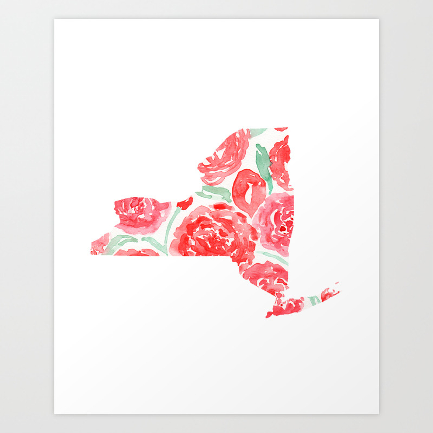 New York State Map Watercolor Art Print State Flower Rose Art Print By Loveshalmai Society6
