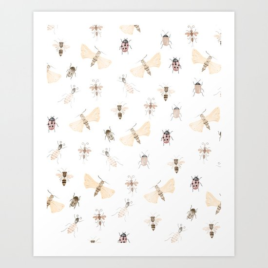 Insects and Bugs Pattern Art Print