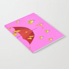 Raining Golden Yellow Butterflies & Roses Humorous Art Design Notebook
