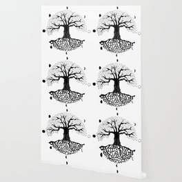 black and white tree of life with moon phases and celtic trinity knot II Wallpaper