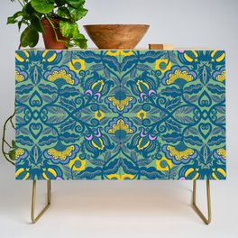 Blue Vines and Folk Art Flowers Pattern Credenza