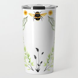 Bees in the Garden - Watercolor Graphic Travel Mug