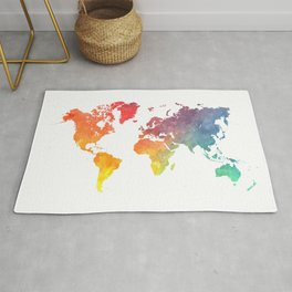 Map of the world colored Rug
