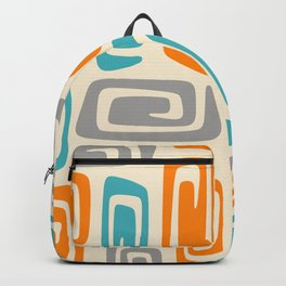 Mid Century Modern Cosmic Abstract 740 Orange Blue and Gray Backpack
