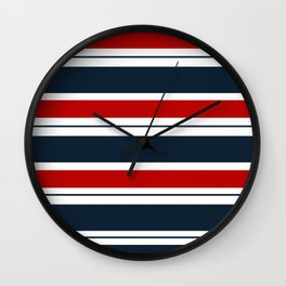Red, White, and Blue Horizontal Striped Wall Clock