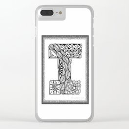 Zentangle I Monogram Alphabet Initial Clear iPhone Case