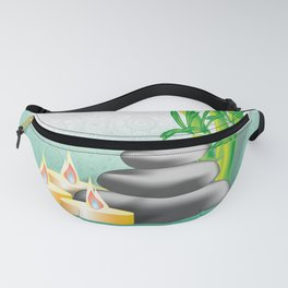 Meditation stones, bamboo and candles Fanny Pack