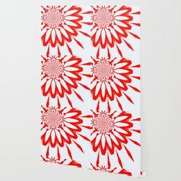 The Modern Flower White & Red Wallpaper