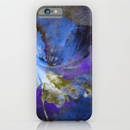 blue abstract flower and old wall iPhone Case