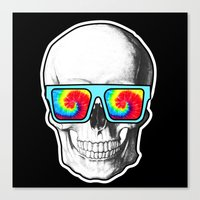 psychadelic Canvas Prints featuring Psychadelic Skull Tiedye glasses by Chara Chara
