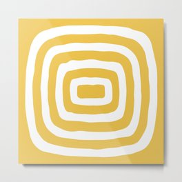 Mid Century Modern Abstract Shape 526 Yellow Metal Print