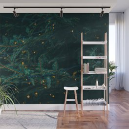 Evergreen and Golden Lights (Color) Wall Mural