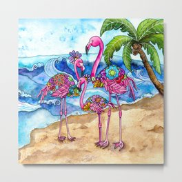 The Flamingo Family's Day at the Beach Metal Print