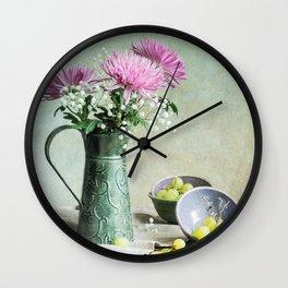 Pink Mums Wall Clock