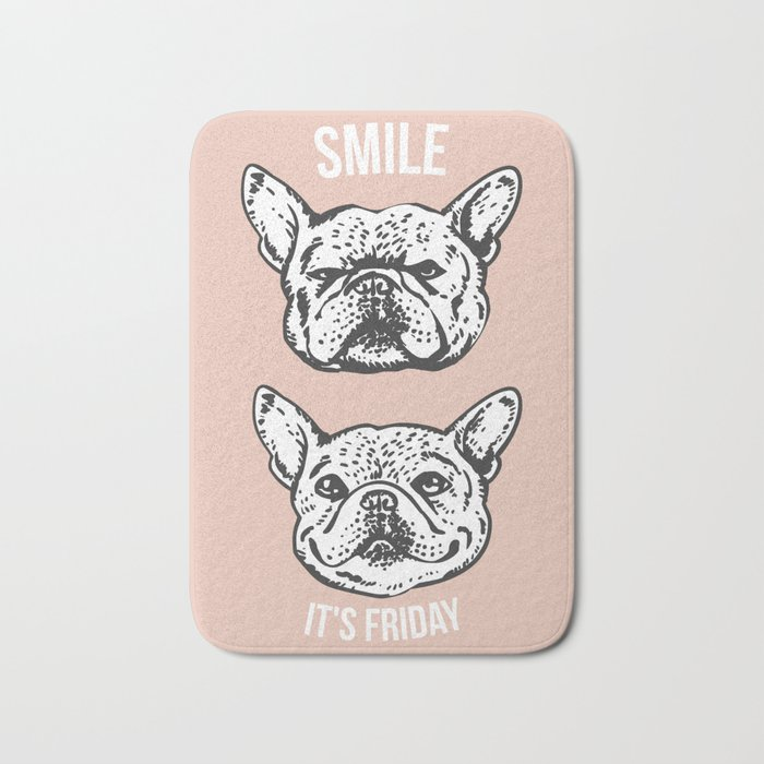 Smile It's Friday Frenchie Bath Mat