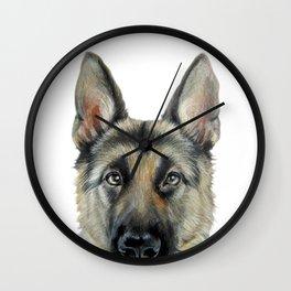 Shepard Dog illustration original painting print Wall Clock