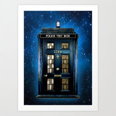 Tardis doctor who Mashup with sherlock holmes 221b door Art Print