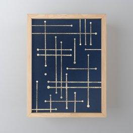 Gold line pattern on navy Framed Mini Art Print