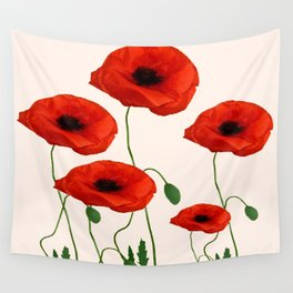 GRAPHIC RED POPPY FLOWERS ON WHITE Wall Tapestry