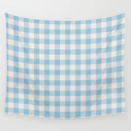Modern 80s white pastel blue picnic print pattern Wall Tapestry