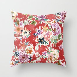 WILD LOVE Bold Red Floral Throw Pillow